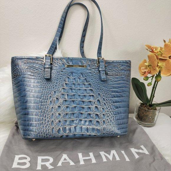 Brahmin Handbags - Brahmin Satellite Blue Medium Asher Tote